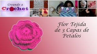 getlinkyoutube.com-Flor tejida de 3 capas de pétalos - Tutorial de tejido crochet