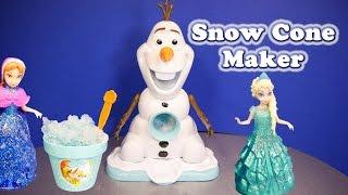 getlinkyoutube.com-FROZEN Disney Olaf Snow Cone Maker With Disney Queen Elsa Funny Frozen Toys Unboxing Video