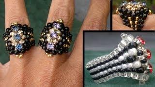 "getlinkyoutube.com-Beading4perfectionists : ""The Biker-Chick"" ring Swarovski montee / miyuki ring beading tutorial"
