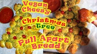 getlinkyoutube.com-Vegan Cheesy Christmas Tree Pull Apart Bread