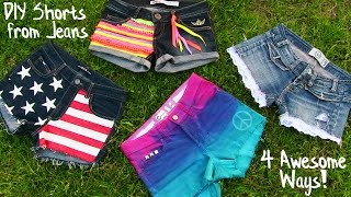 getlinkyoutube.com-DIY Clothes! 4 DIY Shorts Projects from Jeans! Easy