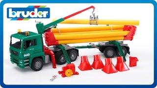 getlinkyoutube.com-Bruder Toys MAN TGA Pole Loading truck w Portal Jib Crane #02747