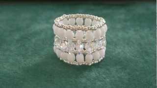 getlinkyoutube.com-Beading4perfectionists : Swarovski -glass beads - miyuki (thumb) ring beading tutorial