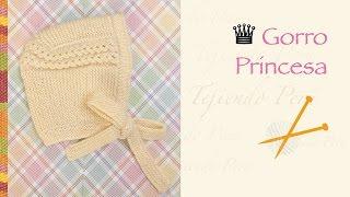 getlinkyoutube.com-Gorro princesa tejido en dos agujas o palitos