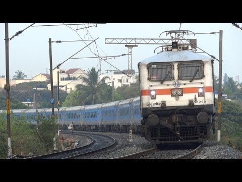 WAP7 SHATABDI SPEEDS OVER A BRIDGE ! BANGALORE - CHENNAI 12028