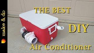 Homemade Portable Air Conditioner DIY - Version 2 - Runs off 12 volt battery, car, or solar! width=