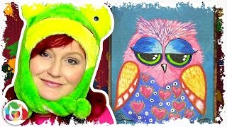 getlinkyoutube.com-How to paint acrylics for beginners Funny Owl Online acylic lesson How to paint a little Hoot