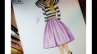 getlinkyoutube.com-تعليم الرسم للملابس والازياء how to draw design and fashion