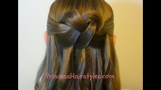 "getlinkyoutube.com-""Woven Knot"" Half Up Hair Style, Homecoming Hairstyles"
