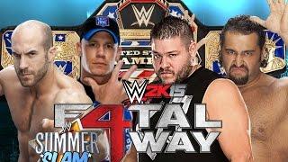 getlinkyoutube.com-WWE Summerslam 2015: John Cena vs Cesaro vs Kevin Owens vs Rusev