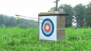 getlinkyoutube.com-Archery target: DIY with carton boxes and 28lb and 150lb shooting test.