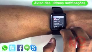 getlinkyoutube.com-Smartwatch U8 Relógio Inteligente Bluetooth manual tutorial  como sincronizar