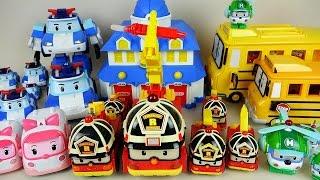 getlinkyoutube.com-Robocar Poli car toys fire truck and car station play