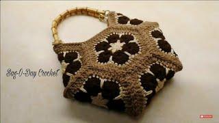 getlinkyoutube.com-CROCHET How To #Crochet African Flower Hexagon Handbag Purse #TUTORIAL  #325