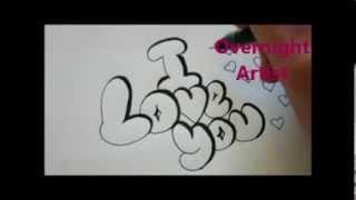 getlinkyoutube.com-How To Write I Love You Cool Bubble Graffiti Letters