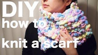 getlinkyoutube.com-DIY ! How to knit a scarf! 棒針いらず!簡単マフラーの編み方