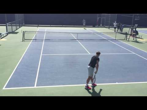 Wawrinka and Fritz Practice at UCLA 3-3-17