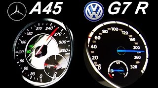 getlinkyoutube.com-VW GOLF 7 R vs MERCEDES A45 AMG Acceleration 0-250 Onboard Sound Autobahn Test