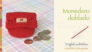 getlinkyoutube.com-Monedero doblado tejido a crochet / English subtitles: crochet folded coin purse!