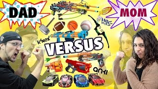 getlinkyoutube.com-Mom vs. Dad! The Ultimate Toys/Game Battle Challenge! NERF, ANKI Overdrive, K'Nex, Avengers + more