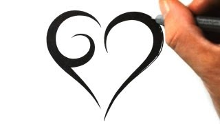 How to Draw a Simple Tribal Heart - Tattoo Design 1