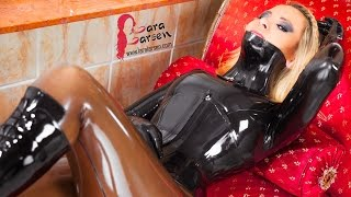 getlinkyoutube.com-Latex Catsuit in Smokey Transparent and Ballet Boots