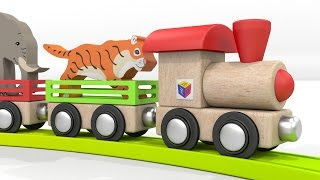 getlinkyoutube.com-Trains for children. Educational cartoons for babies 1 year. Learn wild animals with a ZOO train