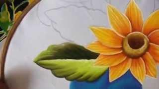 getlinkyoutube.com-Pintura en tela camino de girasol # 2 con cony