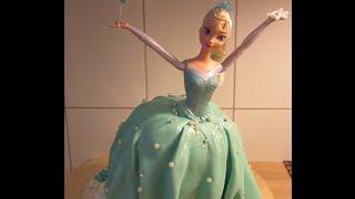getlinkyoutube.com-كيكة باربي إلسا من فيلم ديزني فروزن Elsa Cake Inspired by Ann Reardon