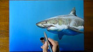 getlinkyoutube.com-Drawing Time Lapse: a cute shark - art on blue paper