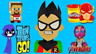 getlinkyoutube.com-TEEN TITANS GO! GIANT PLAY DOH SURPRISE EGG ROBIN Minecraft Marvel Super-Heroes Avengers Toys