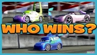 getlinkyoutube.com-Cars 2 The Game Wingo vs DJ vs Boost 3 Player Race on Runway Tour By Disney Cars Toy Club
