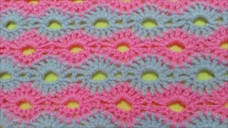getlinkyoutube.com-How to Crochet Road of flowers Stitch / Crochet Patterns # 2