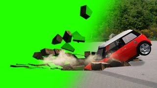 hole in the ground swallows car -  green screen effect