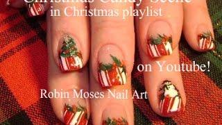 getlinkyoutube.com-4 Easy Christmas Nail Art Designs   Candy - holly - Snowman & Xmas Tree Nails
