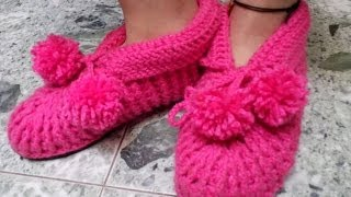 getlinkyoutube.com-Babuchas para Adulto En Crochet