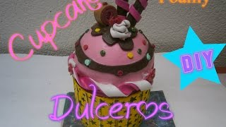 getlinkyoutube.com-Cupcake Dulcero Foamy, Cajita/How to make a foam cupcake DIY