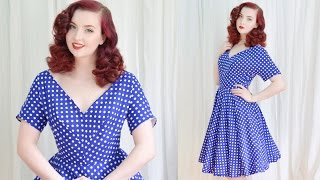 getlinkyoutube.com-Making a 1950's Dress / Blue Dotted Dress