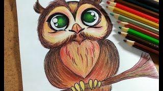 getlinkyoutube.com-Como desenhar Coruja - passo a passo