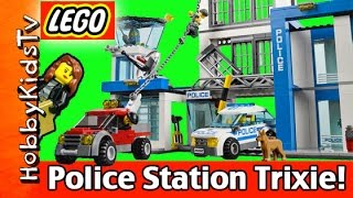 getlinkyoutube.com-LEGO City Police 60047 Police Station Build With Trixie Cops and Robbers HobbyKidsTV