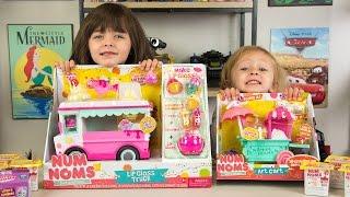 getlinkyoutube.com-HUGE Num Noms Surprise Eggs Opening Lip Gloss Truck & Art Cart Toys for Girls Kinder Playtime