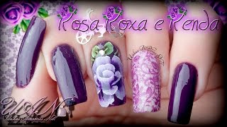 One Stroke - Nail Art Rosa Roxa e Renda - Nill Art