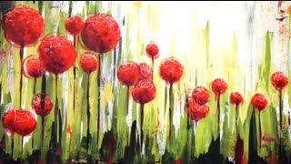 """getlinkyoutube.com-Como pintar con acrílicos - Cuadro """"Flores en el jardin"""""""
