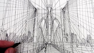 getlinkyoutube.com-How to Draw Brooklyn Bridge: Line Drawing