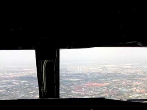 Cockpit view of Malaysia Airlines flight landing into Phnom Penh