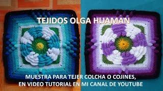 getlinkyoutube.com-flor de dos colores tejido a crochet para colcha paso a paso video 1