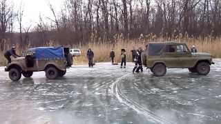 getlinkyoutube.com-GAZ-69 against UAZ ice entertainments the Extreme 4x4 ГАЗ-69 против уаза ледовые забавы
