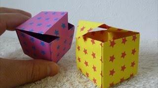 getlinkyoutube.com-【ハンドメイド】折り紙「ふた付きの可愛い四角い箱」折り方・作り方 How to make a cute square box