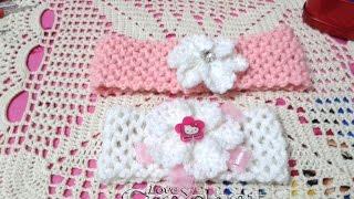 getlinkyoutube.com-Crochet Easy Headband with Flower (babies)- كورشيه | بندانة شعر للصغار والكبار