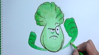 getlinkyoutube.com-Dibujando y Pintando a Bonk Choy (Plantas vs Zombies 2) - how to draw Bonk Choy